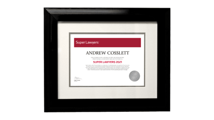 Super Lawyers Framed Certificate