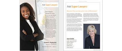 Ask Super Lawyers page in Super Lawyers Magazine