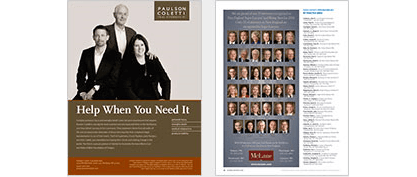 Display Advertising pages in Super Lawyers Magazine